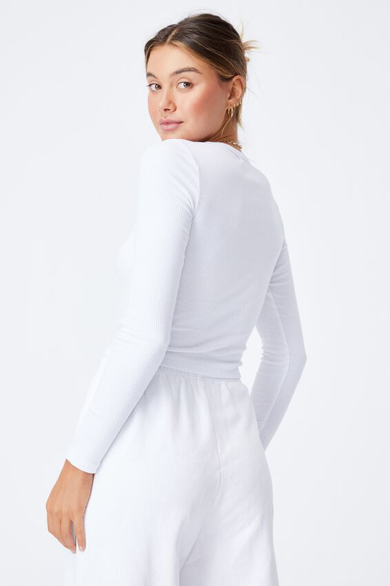 Aspen Long Sleeve Rib Top, WHITE