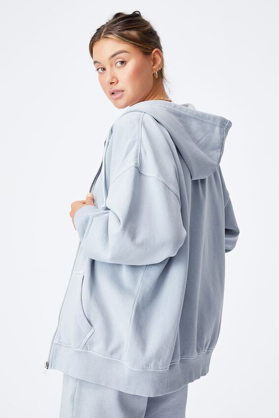 Zola Oversized Zip Through Hoodie, WASHED BLUE FOG