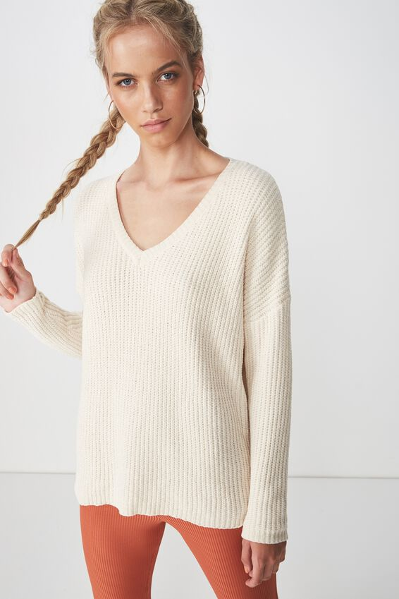 Scarlette Long Sleeve Chunky Knit, CREAM PUFF