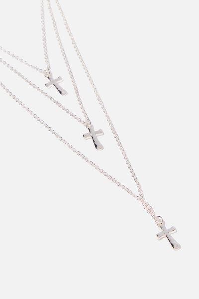 Multi Cross Necklace, SILVER