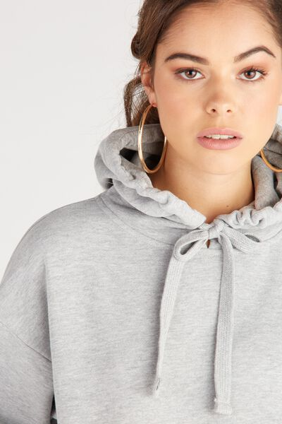 Oversized Sweat Hoodie, GREY MARLE