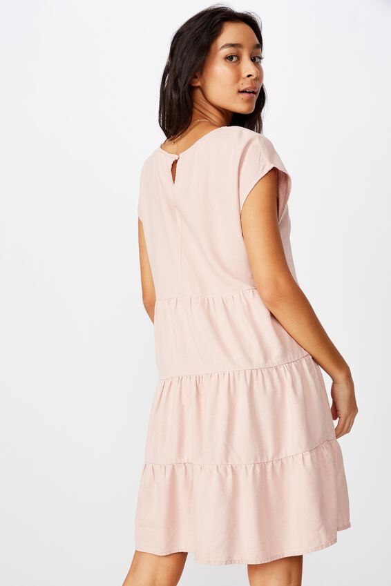 Peggie Tiered Dress, DUSK PINK