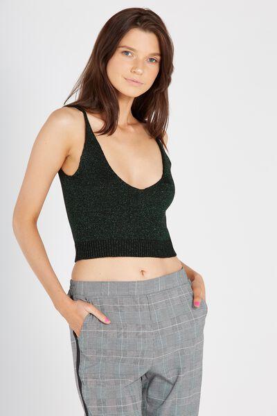 Chelsea Knit Cami, BLACK/GREEN
