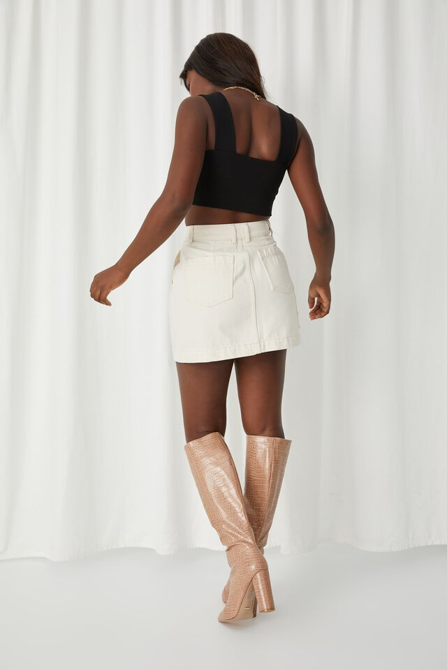 Rigid Denim Mini Skirt, NATURAL