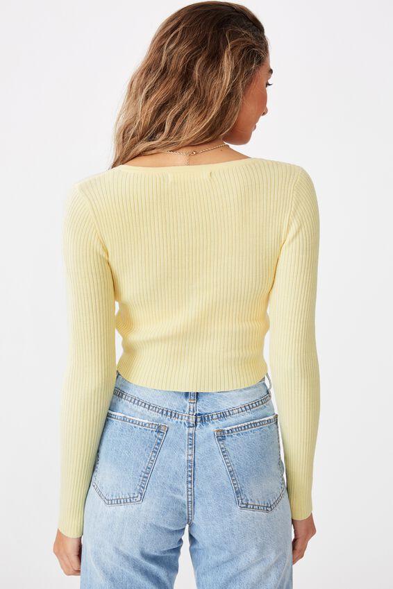 Olive Long Sleeve V Neck Cardi Knit, BANANA YELLOW