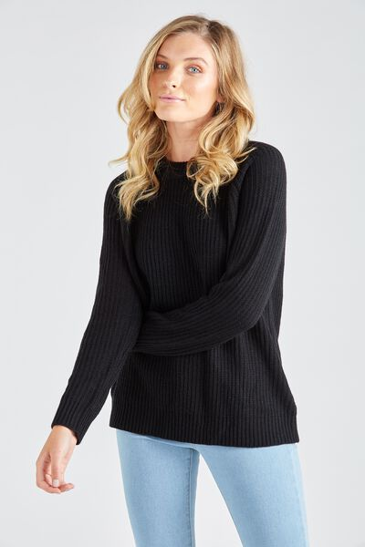 Lucy Crew Knit Sweater, BLACK