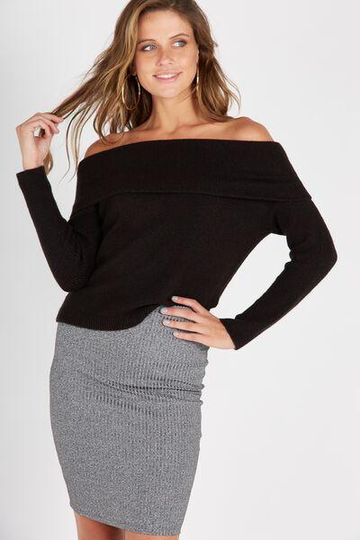 Cosy Off Shoulder Knit Top, BLACK