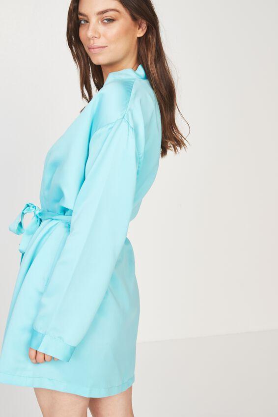 Satin Sleep Robe, BLUE