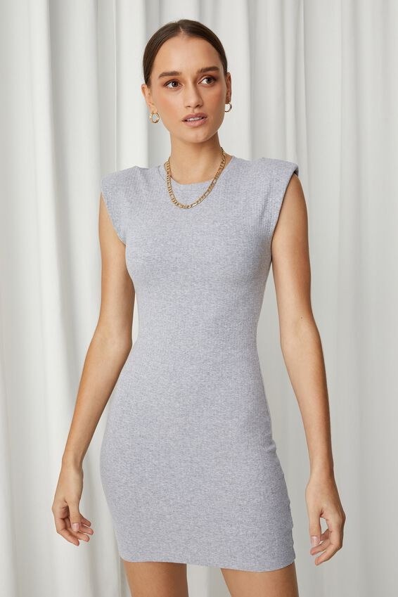 Tilda Padded Mini Dress, GREY MARLE