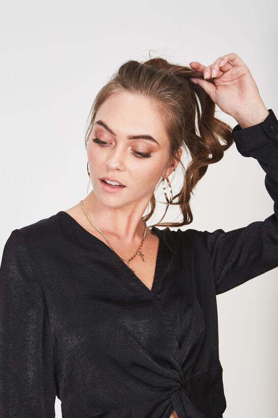 Knot Front Satin Long Sleeve Shirt, BLACK