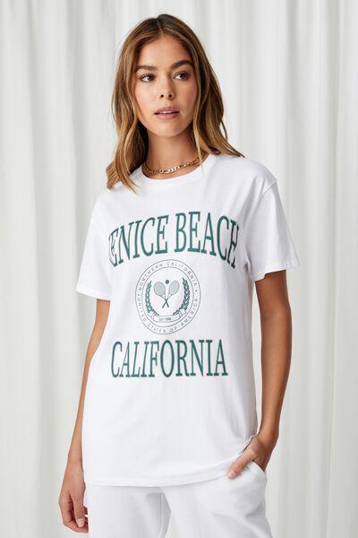 Lola Printed Longline T Shirt, WHITE/VENICE BEACH TENNIS