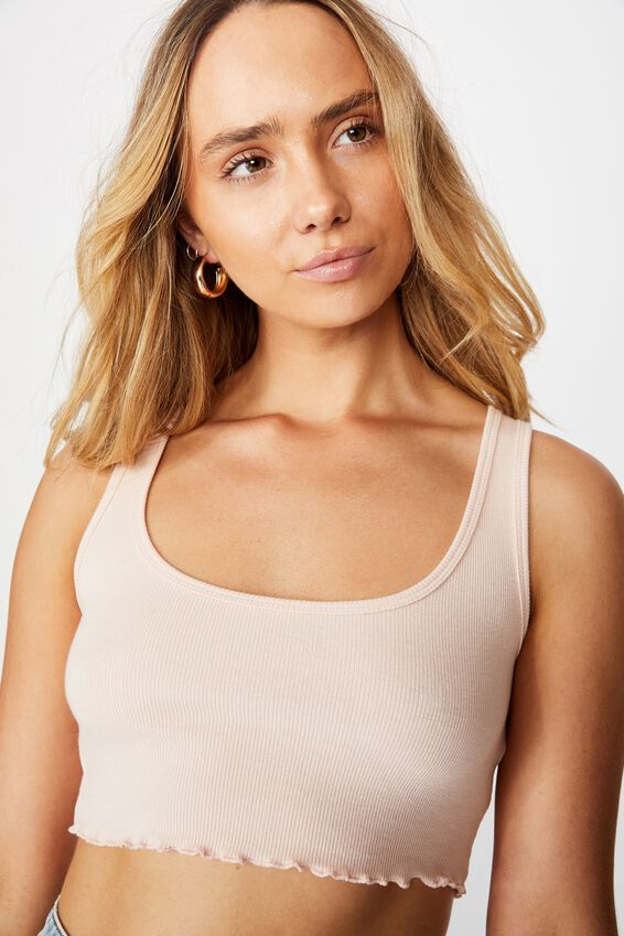 Kali Fitted Crop Tank, PINK FLOSS