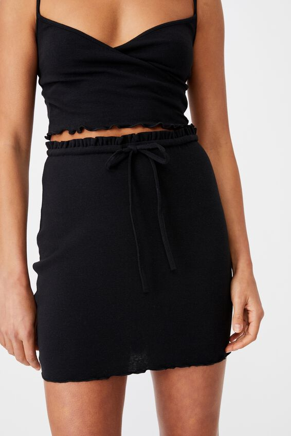 Brooke Lettuce Hem Jersey Skirt Co Ord Set, BLACK