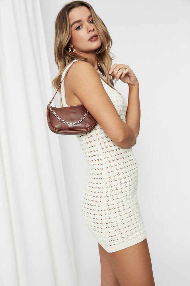 Norah Crochet Mini Dress, ALMOND MILK
