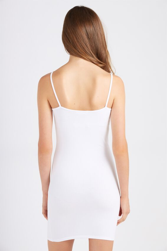 Basic Thin Strap Cami Dress, WHITE