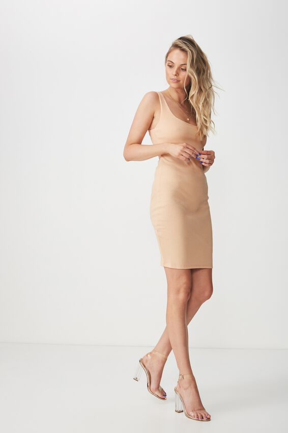 Rib Bodycon Mini Dress, CHAMPAGNE PEACH