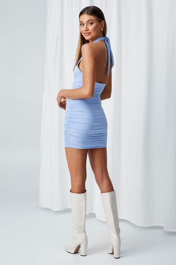 Electra Wrap Halter Mini Dress, PARIS BLUE