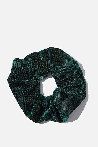 Jacquard Plush Scrunchie, FOREST GREEN