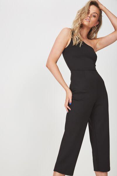 Fitted One Shoulder Jumpsuit, BLACK