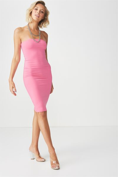 Party Strapless Midi Dress, ROSE PINK