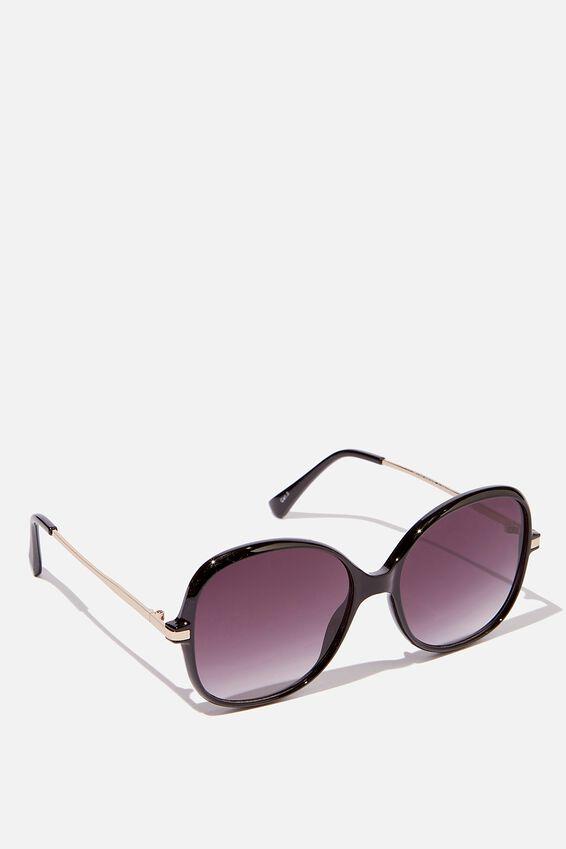 Pearl Round Oversized Sunglasses, BLACK/SMOKE
