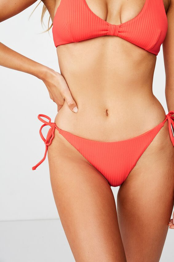 Bells Tie Side Bikini Bottom, SCARLET RED RIB
