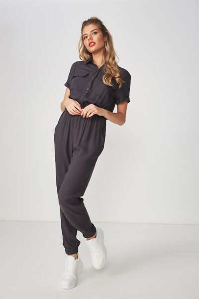 Safari Full Length Jumpsuit, CHARCOAL