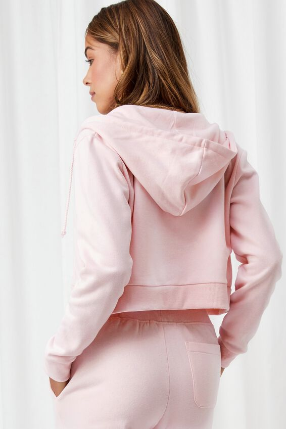 Elizabeth Zip Through Hoodie, PINK FROSTING