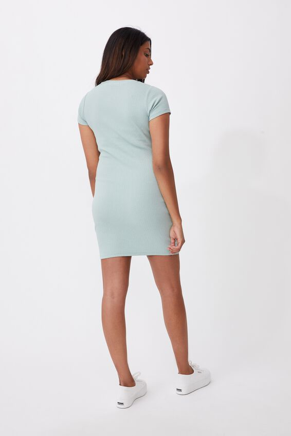 Lucia Rib Tee Mini Dress, SOFT MOSS GREEN