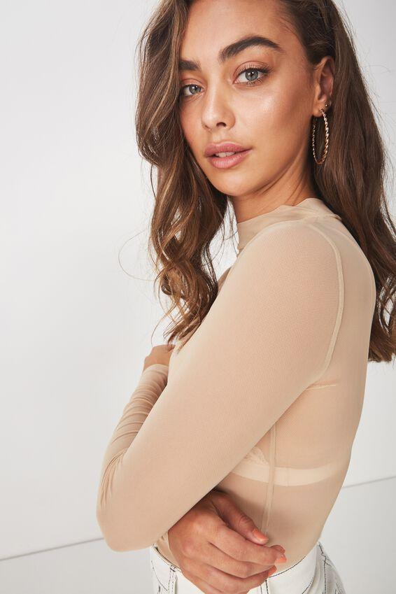 Lily Long Sleeve Mesh Top, BROWN SUGAR