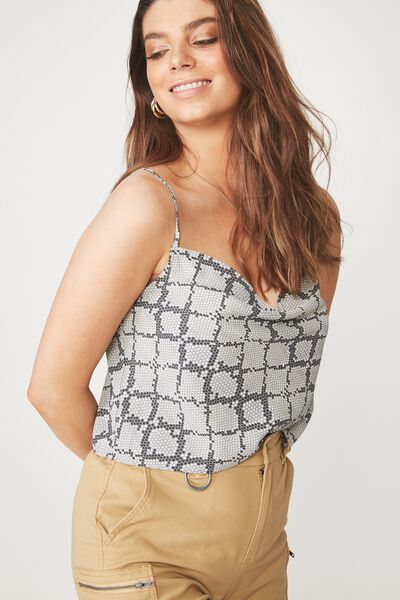 Naomi Cowl Neck Top, PRETTY PYTHON