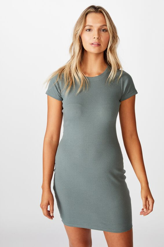 Lucia Rib Tee Mini Dress, CAMPER GREEN