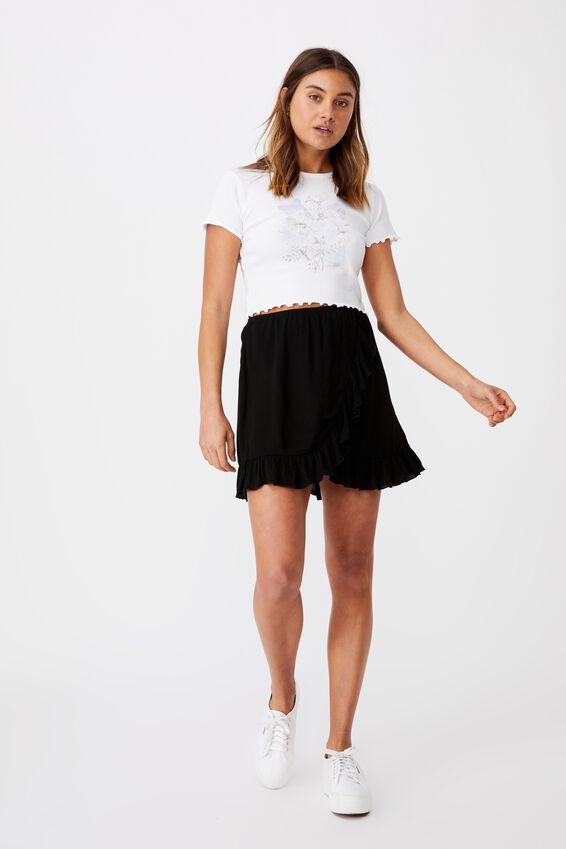 Alana Frill Wrap Skirt, BLACK