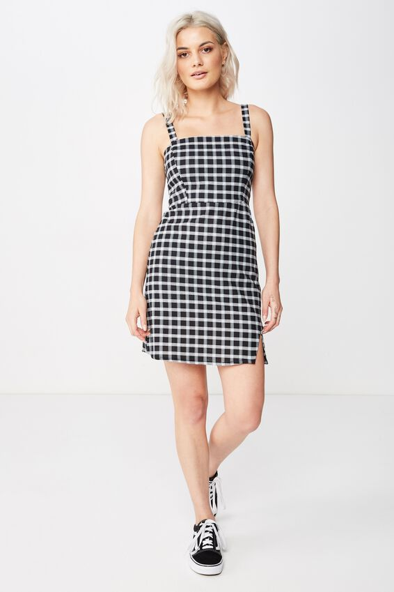 Bianca Wide Strap Cami Dress, BLACK & WHITE CHECK