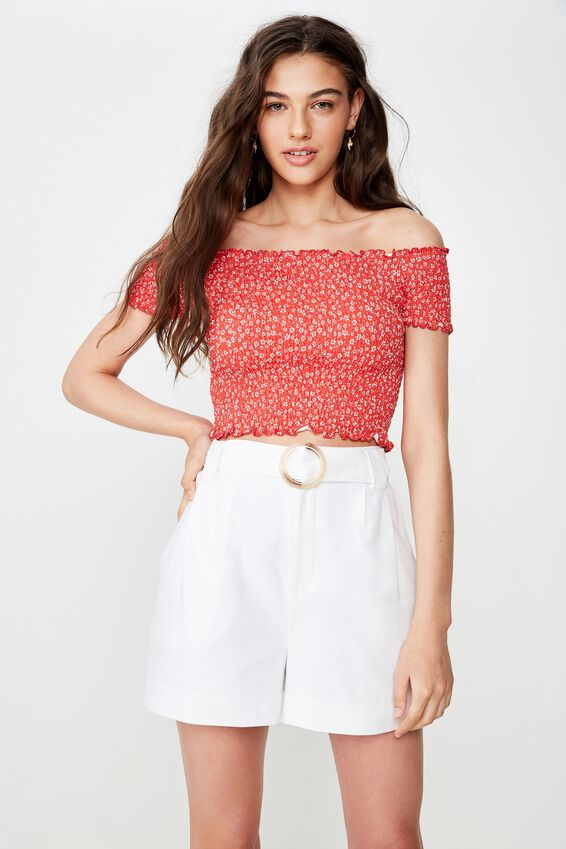 Kirsty Shirred Off The Shoulder Top, WENDY DAISY RED