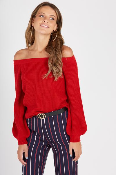 Off Shoulder Bell Sleeve Knit, RED