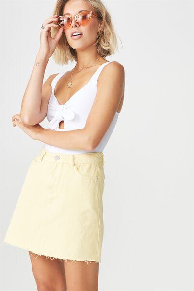 The Blair Aline Denim Skirt, LEMON SHERBET