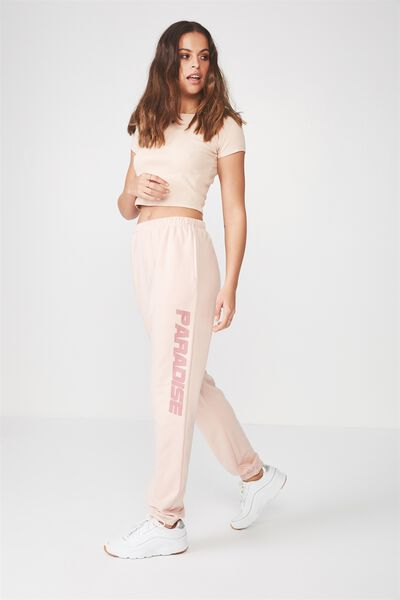 High Waist Graphic Trackpant, SOFT PINK