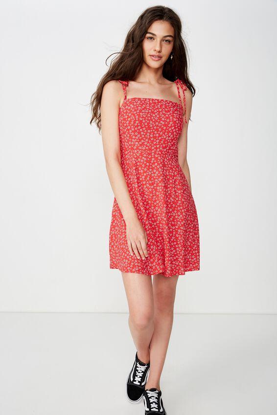 Rylie Tie Shoulder Skater Dress, WENDY DITSY RED