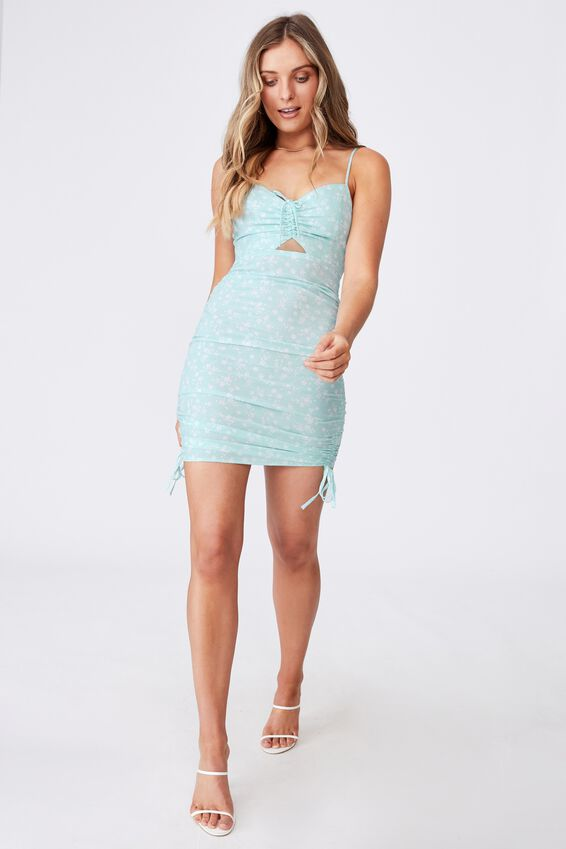 Ashley Ruched Dress, ROMY FLORAL REEF BLUE