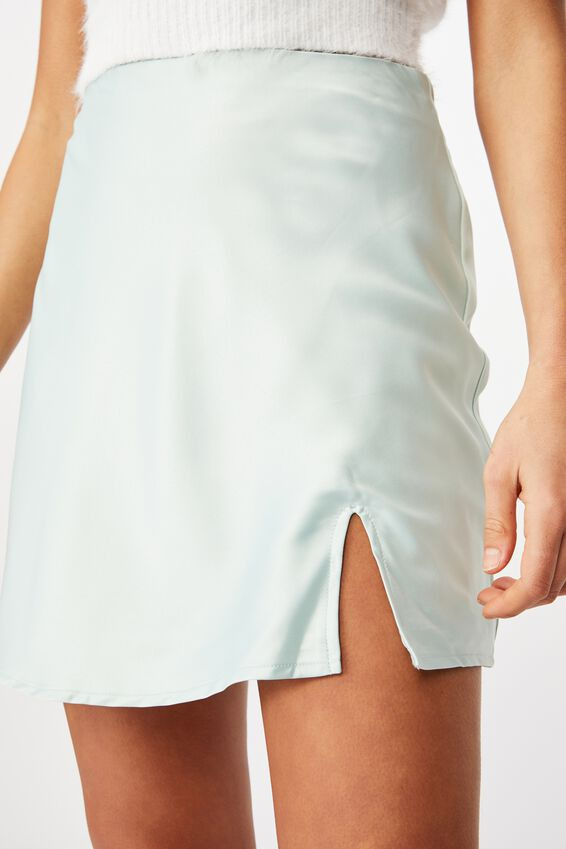 Lizzie Split Mini Skirt, MINTY GREEN