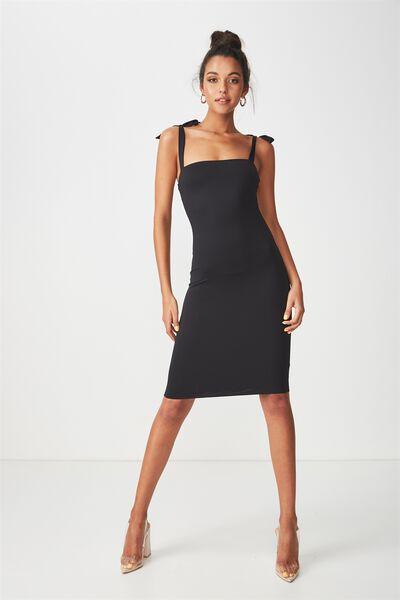 Luxe Tie Strap Bodycon Mini Dress, BLACK