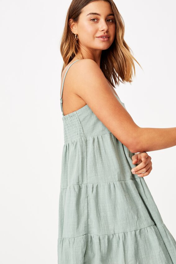 Mila Strappy Tiered Dress, PALE JADE
