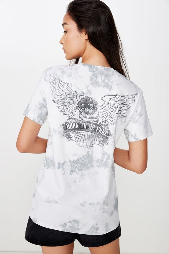 Lola Printed Longline Tee, MONO TIE DYE/BORN TO BE