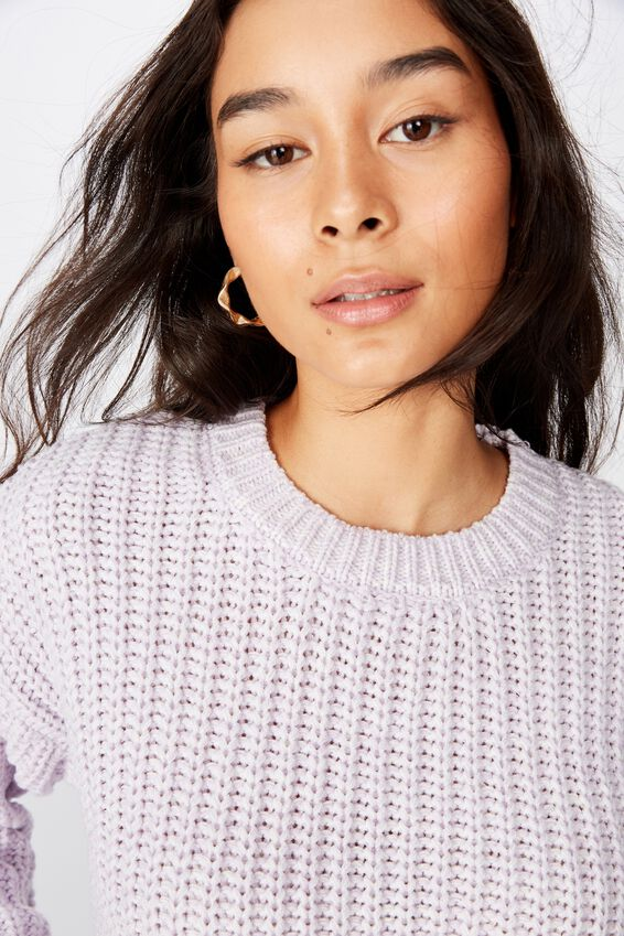 Lennon Crew Knit Sweater, FAIRY LILAC/WHITE TWIST