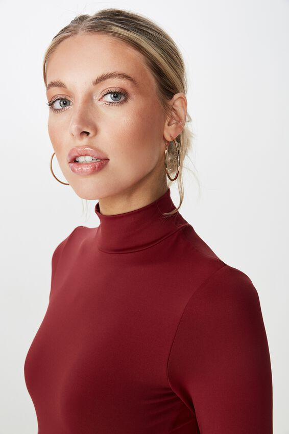 Luxe Mock Neck Bodysuit, CHERRY WINE