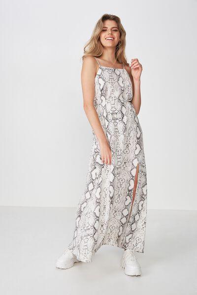 Strappy Maxi Dress, BEIGE SNAKE