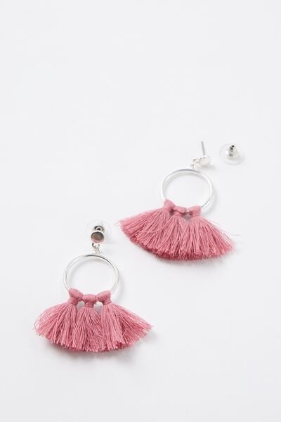 Tassel Hoop Earrings, PINK/SILVER