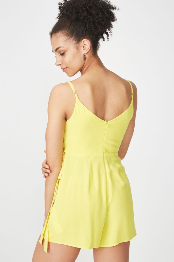 Wrap Front Side Tie Playsuit, YELLOW