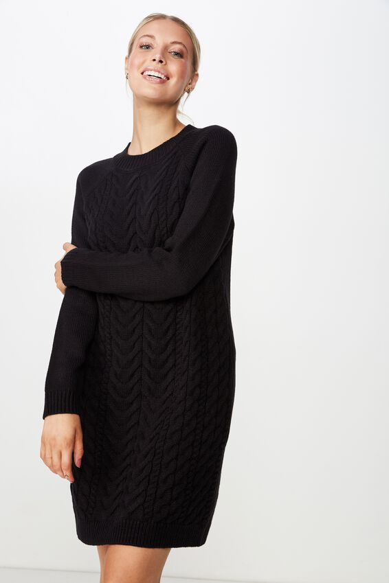 Tanya Knit Dress, BLACK